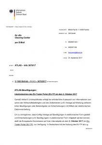 thumbnail of Inbetriebnahme des EU-Trader Portal (EU-TP) ab dem 2. Oktober 2017