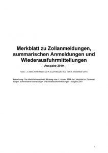 thumbnail of Merkblatt zu Zollanmeldungen 2019