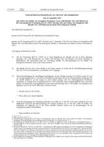 thumbnail of Verbot der Einfuhr von Exemplaren bestimmter Arten