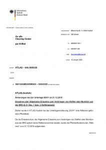 thumbnail of Erlaubnis zum Verbringen von Waffen oder Munition aus der BRD