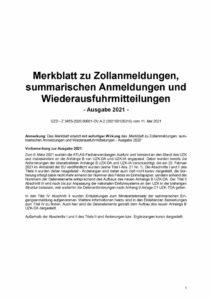 thumbnail of Merkblatt zu Zollanmeldungen 2021